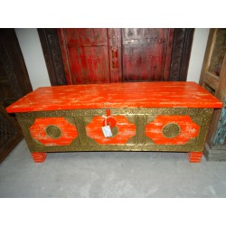Long mango wood cover chest with orange and brass patina