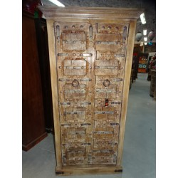 Large wardrobe with old sanded white patinated doors 89 wide