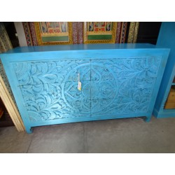 Large carved and turquoise chest of drawers 6 large drawers