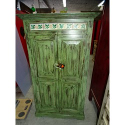 Low cabinet decorated with earthenware pastel green patina 143 cm