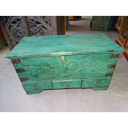 Old Indian chest in turquoise color with 3 drawers