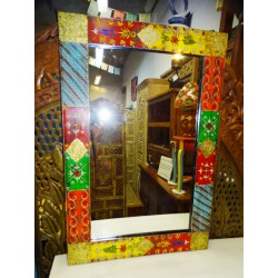 Rectangular mirror with relief painting in red 90x60 cm