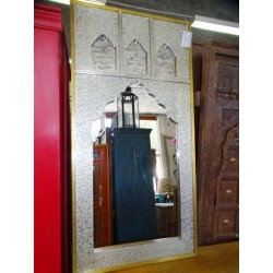 Rectangular silver mirror with 3 locations for photos 120x60 cm