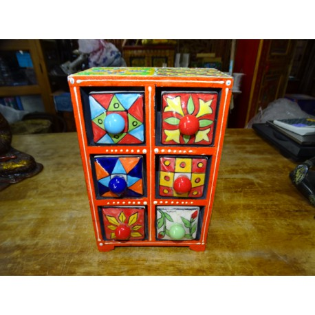 Vertical tea or spices box 6 ceramic drawers N ° 1