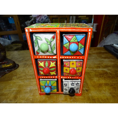 Vertical tea or spices box 6 ceramic drawers N ° 2