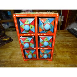 Vertical tea or spices box 6 ceramic drawers N ° 4