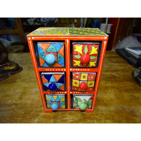 Vertical tea or spices box 6 ceramic drawers N ° 5