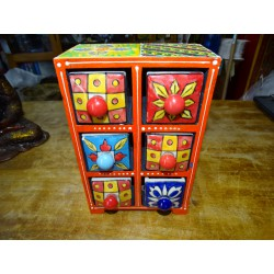 Vertical tea or spices box 6 ceramic drawers N ° 6