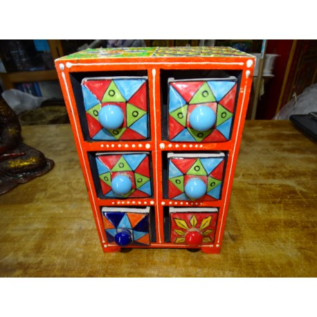 Vertical tea or spices box 6 ceramic drawers N ° 7
