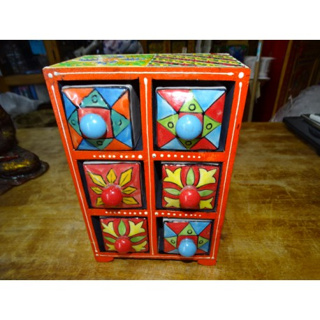 Vertical tea or spices box 6 ceramic drawers N ° 8