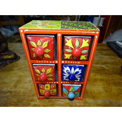 Vertical tea or spices box 6 ceramic drawers N ° 9