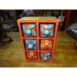 Vertical tea or spices box 6 ceramic drawers N ° 10