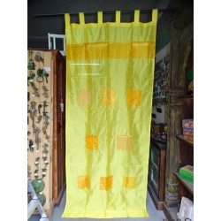Yellow taffeta curtains with patchwork band 250 x 110 cm