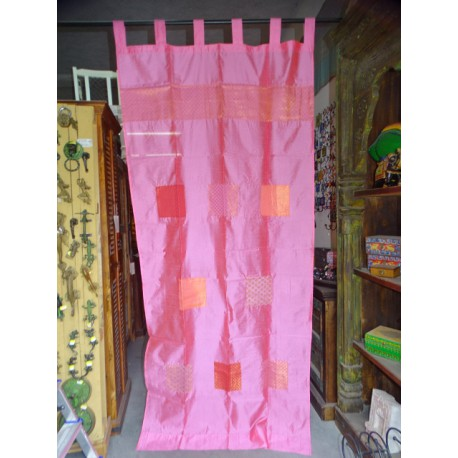 Pink taffeta curtains with patchwork band 250x110 cm