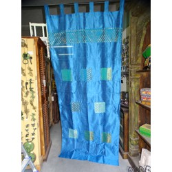 Turquoise taffeta curtains with patchwork strip 250x110 cm