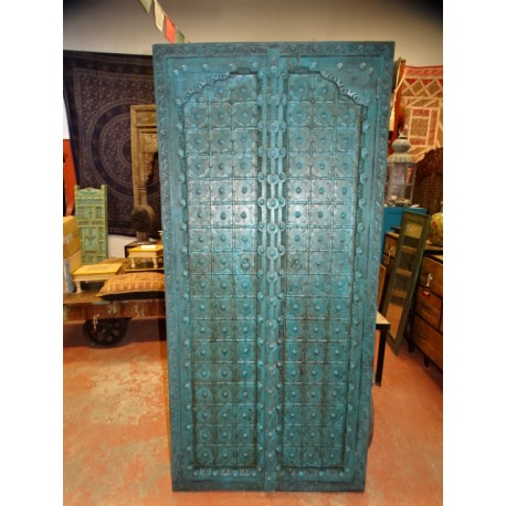 Turquoise cupboard doors with arch in 97 X 195 cm