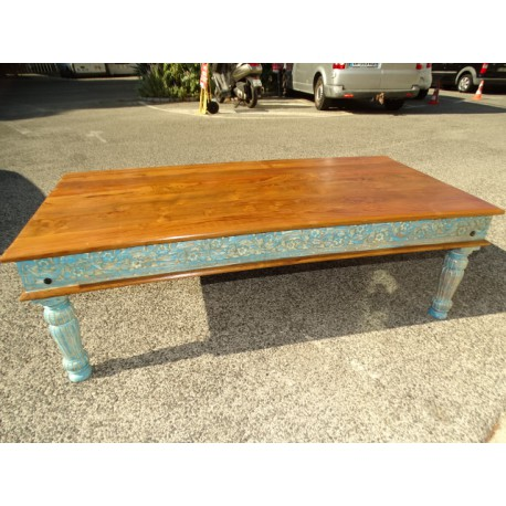 Large teak coffee table with turquoise patinated edges - 151x75 cm