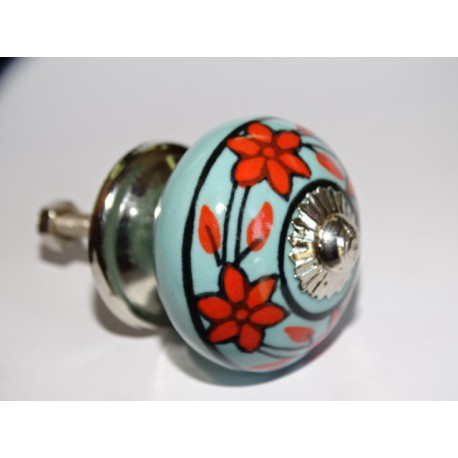 Furniture knobs in turquoise porcelain and orange flowers - silver