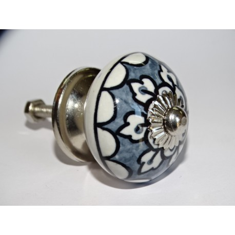 Gray porcelain furniture knobs with white flowers - silver