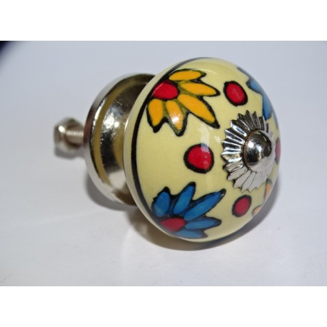 Yellow furniture knobs with orange and turquoise flowers - silver
