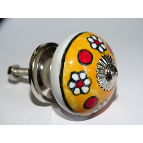 Orange polka dots and red flowers porcelain furniture knobs - silver