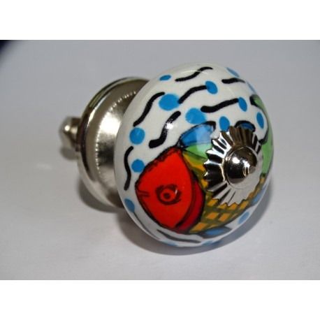 Furniture knobs in white porcelain and multicolored fish - silver