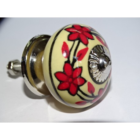 Yellow furniture knobs and red flower wreath - silver