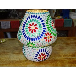 Round mosaic lamp with large multicolored flowers - JAIPUR