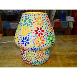 Round mosaic lamp with small multicolored flowers - PUSHKAR