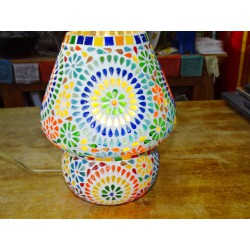 Round mosaic lamp with small multicolored flowers - UDAIPUR