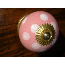 Porcelain knobs pitch pink/gold