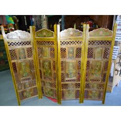 curtain Madras gold and burgundy tiles