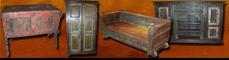 Meubles indiens antiques meuble indien ancien de l 39 inde du nord les me - Vieux meubles restaures ...