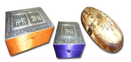 Indian boxes, bone, wood, iron